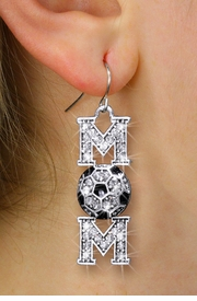 """<BR>         WHOLESALE SOCCER JEWELRY <bR>                 EXCLUSIVELY OURS!! <Br>            AN ALLAN ROBIN DESIGN!! <BR>      LEAD, NICKEL & CADMIUM FREE!! <BR>  W1474SE - SILVER TONE SOCCER """"MOM"""" <BR>       CLEAR CRYSTAL CHARM EARRINGS <BR>         FROM $5.40 TO $10.45 �2013"""