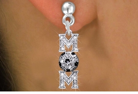 "<BR>         WHOLESALE SOCCER JEWELRY <bR>                 EXCLUSIVELY OURS!! <Br>            AN ALLAN ROBIN DESIGN!! <BR>      LEAD, NICKEL & CADMIUM FREE!! <BR>  W1474SE - SILVER TONE SOCCER ""MOM"" <BR>       CLEAR CRYSTAL CHARM EARRINGS <BR>         FROM $5.40 TO $10.45 �2013"