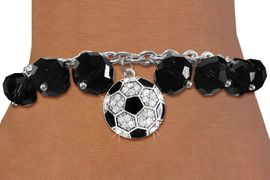 <BR>           WHOLESALE SOCCER JEWELRY!! <bR>                   EXCLUSIVELY OURS!! <Br>              AN ALLAN ROBIN DESIGN!! <BR>        LEAD, NICKEL & CADMIUM FREE!! <BR>    W20335B - SILVER TONE SOCCER BALL <BR>   CRYSTAL CHARM & JET CRYSTAL TOGGLE <BR>  BRACELET FROM $9.56 TO $21.25 �2013