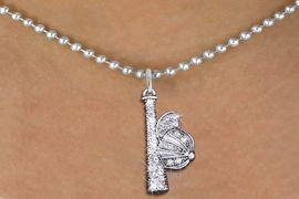 <BR>  SOFTBALL / BASEBALL NECKLACE - ADJUSTABLE <bR>                  <Br>              <BR>        LEAD, NICKEL & CADMIUM FREE!! <BR>      W1470N5 - SILVER TONE AND CLEAR <BR> <b>CRYSTAL BAT AND CAP</b> CHARM AND NECKLACE <BR>             $11.68 EACH  �2013