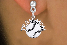 "<br> WHOLESALE SOFTBALL EARRINGS FOR MOM <bR>                 EXCLUSIVELY OURS!! <BR>            AN ALLAN ROBIN DESIGN!! <BR>      CADMIUM, LEAD & NICKEL FREE!! <BR>     W1481SE - DETAILED SILVER TONE <Br> ""TEAM MOM"" SOFTBALL CHARM EARRINGS <BR>          FROM $3.65 TO $8.40 �2013"