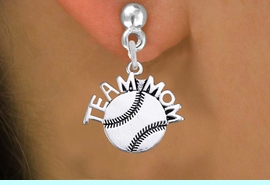 """<br> WHOLESALE SOFTBALL EARRINGS FOR MOM <bR>                 EXCLUSIVELY OURS!! <BR>            AN ALLAN ROBIN DESIGN!! <BR>      CADMIUM, LEAD & NICKEL FREE!! <BR>     W1481SE - DETAILED SILVER TONE <Br> """"TEAM MOM"""" SOFTBALL CHARM EARRINGS <BR>          FROM $3.65 TO $8.40 �2013"""