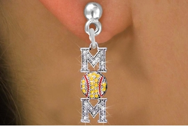 "<BR>        WHOLESALE SOFTBALL JEWELRY <bR>                EXCLUSIVELY OURS!! <Br>           AN ALLAN ROBIN DESIGN!! <BR>     LEAD, NICKEL & CADMIUM FREE!! <BR> W1471E2 - SILVER TONE SOFTBALL ""MOM"" <BR> CLEAR & YELLOW CRYSTAL CHARM EARRINGS <BR>        FROM $7.40  �2013"