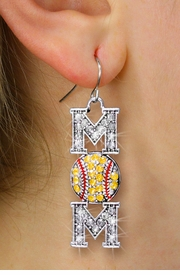"<BR>        WHOLESALE SOFTBALL JEWELRY <bR>                EXCLUSIVELY OURS!! <Br>           AN ALLAN ROBIN DESIGN!! <BR>     LEAD, NICKEL & CADMIUM FREE!! <BR> W1471SE1 - SILVER TONE SOFTBALL ""MOM"" <BR> CLEAR & YELLOW CRYSTAL CHARM EARRINGS <BR>        FROM $7.40  �2013"