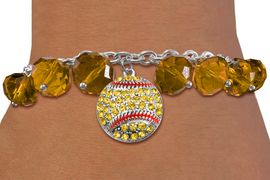 <BR>         WHOLESALE SOFTBALL JEWELRY!! <bR>                   EXCLUSIVELY OURS!! <Br>              AN ALLAN ROBIN DESIGN!! <BR>        LEAD, NICKEL & CADMIUM FREE!! <BR>       W20336B - SILVER TONE SOFTBALL <BR>  CRYSTAL CHARM & GOLD CRYSTAL TOGGLE <BR>  BRACELET FROM $9.56 TO $21.25 �2013