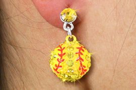 <bR>      WHOLESALE SOFTBALL JEWELRY <BR>              LEAD & NICKEL FREE!! <BR> W20450E - YELLOW AUSTRIAN CRYSTAL <Br>   2-TIERED SOFTBALL POST EARRINGS <Br>        FROM $6.75 TO $15.00 �2013