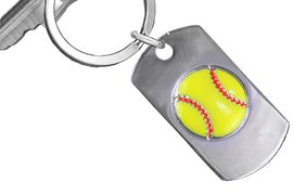 "<bR>     WHOLESALE SOFTBALL KEY RINGS <BR>            AN ALLAN ROBIN DESIGN <bR>               EXCLUSIVELY OURS!! <BR>             LEAD & NICKEL FREE!! <BR>  W20617KC - DOUBLE-SIDED SOFTBALL <Br> ""NEVER GIVE UP"" DOG TAG KEY CHAIN <BR>   FROM $5.29 TO $11.75 &#169;2013"