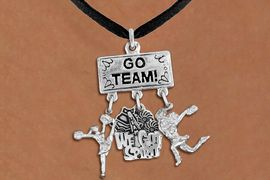 """<br> WHOLESALE SPIRIT CHEERLEADER NECKLACE<Br>                EXCLUSIVELY OURS!! <Br>           AN ALLAN ROBIN DESIGN!! <Br>              LEAD & NICKEL FREE!! <BR>  W20129N - SILVER TONE """"GO TEAM!"""" <BR>  CHEERLEADING THEMED PENDANT WITH <BR> """"WE GOT SPIRIT"""" AND CHEERLEADERS <BR>           ON BLACK SUEDE NECKLACE <BR>          FROM $7.85 TO $17.50 �2013"""