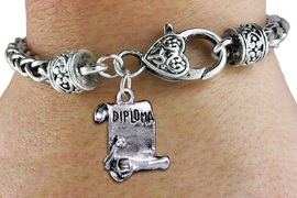 <bR>      WHOLESALE SPORTS CHARM BRACELET <BR>                    EXCLUSIVELY OURS!! <BR>               AN ALLAN ROBIN DESIGN!! <BR>         CADMIUM, LEAD & NICKEL FREE!! <BR>       W1433SB - DETAILED SILVER TONE  <BR>    DIPLOMA SCROLL CHARM & HEART CLASP <BR>     BRACELET FROM $3.94 TO $8.75 �2013