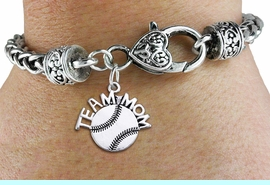 """<bR>       WHOLESALE SPORTS CHARM BRACELET <BR>                     EXCLUSIVELY OURS!! <BR>                AN ALLAN ROBIN DESIGN!! <BR>          CADMIUM, LEAD & NICKEL FREE!! <BR>        W1481SB - DETAILED SILVER TONE  <BR> """"TEAM MOM"""" SOFTBALL CHARM & HEART CLASP <BR>      BRACELET FROM $3.94 TO $8.75 �2013"""