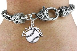 """<bR>       WHOLESALE SPORTS CHARM BRACELET <BR>                     EXCLUSIVELY OURS!! <BR>                AN ALLAN ROBIN DESIGN!! <BR>          CADMIUM, LEAD & NICKEL FREE!! <BR>        W1491SB - DETAILED SILVER TONE  <BR> """"TEAM MOM"""" BASEBALL CHARM & HEART CLASP <BR>      BRACELET FROM $3.94 TO $8.75 �2013"""