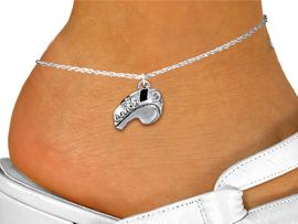 """<bR>           WHOLESALE SPORTS JEWELRY <BR>                 EXCLUSIVELY OURS!! <BR>            AN ALLAN ROBIN DESIGN!! <BR>      CADMIUM, LEAD & NICKEL FREE!! <BR>      W1432SAK - LARGE, SILVER TONE <Br>  """"#1 COACH"""" WHISTLE CHARM & ANKLET <BR>          FROM $3.35 TO $8.00 �2013"""