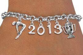 <br>    WHOLESALE SWIMMING CHARM BRACELET! <Br>                      EXCLUSIVELY OURS!! <Br>                 AN ALLAN ROBIN DESIGN!! <Br>                    LEAD & NICKEL FREE!! <BR>             THIS IS A PERSONALIZED ITEM <Br>     W20478B - SILVER TONE TOGGLE CLASP <BR> SWIMMER / DIVER, #1 TROPHY AND CUSTOM <BR> YEAR BRACELET FROM $9.00 TO $20.00 �2013