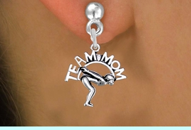 """<br>  WHOLESALE SWIMMING EARRINGS <bR>                 EXCLUSIVELY OURS!! <BR>            AN ALLAN ROBIN DESIGN!! <BR>      CADMIUM, LEAD & NICKEL FREE!! <BR>     W1482SE - DETAILED SILVER TONE <Br> """"TEAM MOM"""" SWIMMING CHARM EARRINGS <BR>          FROM $3.65 TO $8.40 �2013"""