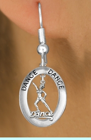 """<BR>      WHOLESALE TAP DANCE EARRING<bR>                    EXCLUSIVELY OURS!! <BR>               AN ALLAN ROBIN DESIGN!!<BR>                  LEAD & NICKEL FREE!! <BR> W20040E -  SILVER TONE """"DANCE"""" OVAL <BR>    WITH SILVER TONE DANCER IN HAT <BR>       CHARM ON FISHHOOK EARRINGS <BR>                     $12.38 EACH  �2013"""
