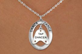 "<BR>      WHOLESALE TAP DANCE JEWELRY<bR>                     EXCLUSIVELY OURS!! <BR>                AN ALLAN ROBIN DESIGN!! <BR>                   LEAD & NICKEL FREE!! <BR>   W20043N -  SILVER TONE ""DANCE"" OVAL <BR> WITH SILVER TONE ""TAP DANCER"" SHOE TAP <BR>        CHARM ON CHAIN LINK NECKLACE <BR>                    $10.38 EACH �13"