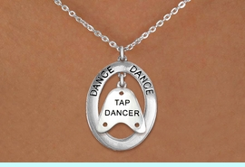 """<BR>      WHOLESALE TAP DANCE JEWELRY<bR>                     EXCLUSIVELY OURS!! <BR>                AN ALLAN ROBIN DESIGN!! <BR>                   LEAD & NICKEL FREE!! <BR>   W20043N -  SILVER TONE """"DANCE"""" OVAL <BR> WITH SILVER TONE """"TAP DANCER"""" SHOE TAP <BR>        CHARM ON CHAIN LINK NECKLACE <BR>                    $10.38 EACH �2013"""