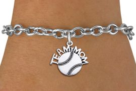 """<br> WHOLESALE TEAM MOM BASEBALL BRACELET <bR>                    EXCLUSIVELY OURS!!<BR>               AN ALLAN ROBIN DESIGN!!<BR>      CLICK HERE TO SEE 1000+ EXCITING<BR>            CHANGES THAT YOU CAN MAKE!<BR>         CADMIUM, LEAD & NICKEL FREE!!<BR>       W1491SB - DETAILED SILVER TONE <Br> """"TEAM MOM"""" BASEBALL CHARM & BRACELET <BR>             FROM $4.50 TO $8.35 �2013"""