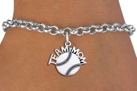 """<br> WHOLESALE TEAM MOM BASEBALL BRACELET <bR>                    EXCLUSIVELY OURS!!<BR>               AN ALLAN ROBIN DESIGN!!<BR>      CLICK HERE TO SEE 1000+ EXCITING<BR>            CHANGES THAT YOU CAN MAKE!<BR>         CADMIUM, LEAD & NICKEL FREE!!<BR>       W1491SB - DETAILED SILVER TONE <Br> """"TEAM MOM"""" BASEBALL CHARM & BRACELET <BR>             FROM $4.15 TO $8.00 �2013"""