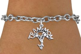 "<br>  WHOLESALE TEAM MOM CHEER BRACELET <bR>                     EXCLUSIVELY OURS!!<BR>                AN ALLAN ROBIN DESIGN!!<BR>       CLICK HERE TO SEE 1000+ EXCITING<BR>             CHANGES THAT YOU CAN MAKE!<BR>          CADMIUM, LEAD & NICKEL FREE!!<BR>        W1484SB - DETAILED SILVER TONE <Br> ""TEAM MOM"" CHEERLEADER CHARM & BRACELET <BR>              FROM $4.50 TO $8.35 �2013"