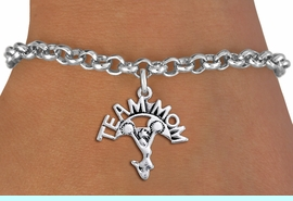"""<br>  WHOLESALE TEAM MOM CHEER BRACELET <bR>                     EXCLUSIVELY OURS!!<BR>                AN ALLAN ROBIN DESIGN!!<BR>       CLICK HERE TO SEE 1000+ EXCITING<BR>             CHANGES THAT YOU CAN MAKE!<BR>          CADMIUM, LEAD & NICKEL FREE!!<BR>        W1484SB - DETAILED SILVER TONE <Br> """"TEAM MOM"""" CHEERLEADER CHARM & BRACELET <BR>              FROM $4.15 TO $8.00 �2013"""