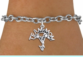 """<br>  WHOLESALE TEAM MOM CHEER BRACELET <bR>                     EXCLUSIVELY OURS!!<BR>                AN ALLAN ROBIN DESIGN!!<BR>       CLICK HERE TO SEE 1000+ EXCITING<BR>             CHANGES THAT YOU CAN MAKE!<BR>          CADMIUM, LEAD & NICKEL FREE!!<BR>        W1484SB - DETAILED SILVER TONE <Br> """"TEAM MOM"""" CHEERLEADER CHARM & BRACELET <BR>              FROM $4.50 TO $8.35 �2013"""
