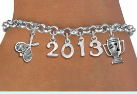 <br>    WHOLESALE TENNIS CHARM BRACELET!<Br>                      EXCLUSIVELY OURS!! <Br>                 AN ALLAN ROBIN DESIGN!! <Br>                    LEAD & NICKEL FREE!! <BR>             THIS IS A PERSONALIZED ITEM <Br>     W20481B - SILVER TONE LOBSTER CLASP <BR> TENNIS RACQUETS, #1 TROPHY AND CUSTOM <BR> YEAR BRACELET FROM $9.00 TO $20.00 �2013