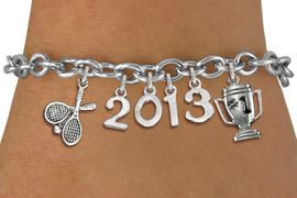<br>    WHOLESALE TENNIS CHARM BRACELET!<Br>                      EXCLUSIVELY OURS!! <Br>                 AN ALLAN ROBIN DESIGN!! <Br>                    LEAD & NICKEL FREE!! <BR>             THIS IS A PERSONALIZED ITEM <Br>     W20482B - SILVER TONE TOGGLE CLASP <BR> TENNIS RACQUETS, #1 TROPHY AND CUSTOM <BR> YEAR BRACELET FROM $9.00 TO $20.00 �2013
