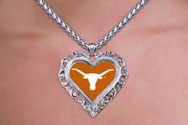 """<br>          WHOLESALE  TEXAS  JEWELRY<Br>    OFFICIALLY LICENSED COLLEGE!! <Br>             LEAD & NICKEL FREE!! <Br>    W20314N - UNIVERSITY OF TEXAS <Br>    """"LONGHORNS"""" SILVER TONE HEART <Br>     NECKLACE FROM $5.63 TO $12.50"""