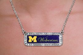 <br>       WHOLESALE UNIVERSITY FASHION <bR>       CADMIUM, LEAD & NICKEL FREE!! <BR> 	      OFFICIAL COLLEGIATE JEWELRY!! <BR>   W20612N - SILVER TONE AND CRYSTAL <BR> UNIVERSITY OF MICHIGAN WOLVERINES <BR> NECKLACE FROM $5.63 TO $12.50 �2013