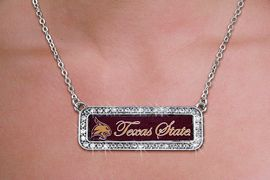 "<br>       WHOLESALE UNIVERSITY FASHION <bR>       CADMIUM, LEAD & NICKEL FREE!! <BR> 	      OFFICIAL COLLEGIATE JEWELRY!! <BR>   W20615N - SILVER TONE AND CRYSTAL <BR> TEXAS STATE UNIVERSITY ""BOBCATS"" PENDANT <BR> NECKLACE FROM $5.63 TO $12.50 �2013"
