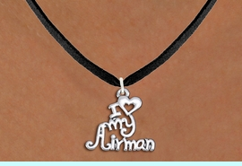 """<br>WHOLESALE US AIR FORCE NECKLACE JEWELRY <bR>                   EXCLUSIVELY OURS!! <BR>              AN ALLAN ROBIN DESIGN!! <BR>     CLICK HERE TO SEE 1000+ EXCITING <BR>           CHANGES THAT YOU CAN MAKE! <BR>        CADMIUM, LEAD & NICKEL FREE!! <BR>     W1501SN - BEAUTIFUL SILVER TONE <BR>    """"I LOVE MY AIRMAN"""" CHARM & NECKLACE <BR>             FROM $4.50 TO $8.35 �2013"""