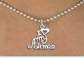 """<br>WHOLESALE US AIR FORCE NECKLACE JEWELRY <bR>                   EXCLUSIVELY OURS!! <BR>              AN ALLAN ROBIN DESIGN!! <BR>     CLICK HERE TO SEE 1000+ EXCITING <BR>           CHANGES THAT YOU CAN MAKE! <BR>        CADMIUM, LEAD & NICKEL FREE!! <BR>     W1501SN - BEAUTIFUL SILVER TONE <BR>    """"I LOVE MY AIRMAN"""" CHARM & NECKLACE <BR>             FROM $4.85 TO $8.30 �2013"""