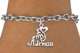 "<br>      WHOLESALE USAF FASHION BRACELET <bR>                    EXCLUSIVELY OURS!!<BR>               AN ALLAN ROBIN DESIGN!!<BR>      CLICK HERE TO SEE 1000+ EXCITING<BR>            CHANGES THAT YOU CAN MAKE!<BR>         CADMIUM, LEAD & NICKEL FREE!!<BR>     W1501SB - BEAUTIFUL SILVER TONE <Br> ""I LOVE MY AIRMAN"" CHARM & BRACELET <BR>             FROM $4.50 TO $8.35 �2013"