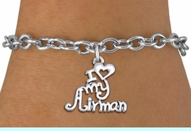 """<br>      WHOLESALE USAF FASHION BRACELET <bR>                    EXCLUSIVELY OURS!!<BR>               AN ALLAN ROBIN DESIGN!!<BR>      CLICK HERE TO SEE 1000+ EXCITING<BR>            CHANGES THAT YOU CAN MAKE!<BR>         CADMIUM, LEAD & NICKEL FREE!!<BR>     W1501SB - BEAUTIFUL SILVER TONE <Br> """"I LOVE MY AIRMAN"""" CHARM & BRACELET <BR>             FROM $4.50 TO $8.35 �2013"""