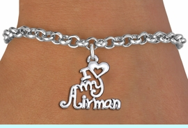 """<br>      WHOLESALE USAF FASHION BRACELET <bR>                    EXCLUSIVELY OURS!!<BR>               AN ALLAN ROBIN DESIGN!!<BR>      CLICK HERE TO SEE 1000+ EXCITING<BR>            CHANGES THAT YOU CAN MAKE!<BR>         CADMIUM, LEAD & NICKEL FREE!!<BR>     W1501SB - BEAUTIFUL SILVER TONE <Br> """"I LOVE MY AIRMAN"""" CHARM & BRACELET <BR>             FROM $4.15 TO $8.00 �2013"""