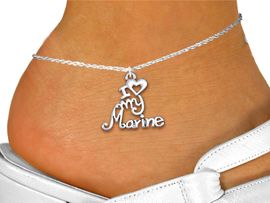 """<bR>      WHOLESALE USMC ANKLET JEWELRY <BR>                   EXCLUSIVELY OURS!! <BR>              AN ALLAN ROBIN DESIGN!! <BR>        CADMIUM, LEAD & NICKEL FREE!! <BR>     W1500SAK - BEAUTIFUL SILVER TONE <Br>    """"I LOVE MY MARINE"""" CHARM & ANKLET <BR>            FROM $3.35 TO $8.00 �2013"""