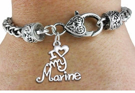 "<bR>       WHOLESALE USMC CHARM BRACELET <BR>                     EXCLUSIVELY OURS!! <BR>                AN ALLAN ROBIN DESIGN!! <BR>          CADMIUM, LEAD & NICKEL FREE!! <BR>        W1500SB - BEAUTIFUL SILVER TONE  <BR>  ""I LOVE MY MARINE"" CHARM & HEART CLASP <BR>      BRACELET FROM $4.64 TO $8.75 �2013"