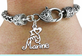 """<bR>       WHOLESALE USMC CHARM BRACELET <BR>                     EXCLUSIVELY OURS!! <BR>                AN ALLAN ROBIN DESIGN!! <BR>          CADMIUM, LEAD & NICKEL FREE!! <BR>        W1500SB - BEAUTIFUL SILVER TONE  <BR>  """"I LOVE MY MARINE"""" CHARM & HEART CLASP <BR>      BRACELET FROM $4.64 TO $8.75 �2013"""