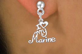 """<br>        WHOLESALE USMC EARRINGS <bR>                 EXCLUSIVELY OURS!! <BR>            AN ALLAN ROBIN DESIGN!! <BR>      CADMIUM, LEAD & NICKEL FREE!! <BR>    W1500SE - BEAUTIFUL SILVER TONE <Br>  """"I LOVE MY MARINE"""" CHARM EARRINGS <BR>          FROM $3.65 TO $8.40 �2013"""