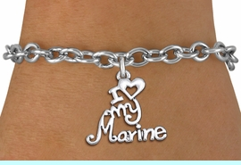 """<br>      WHOLESALE USMC FASHION BRACELET <bR>                    EXCLUSIVELY OURS!!<BR>               AN ALLAN ROBIN DESIGN!!<BR>      CLICK HERE TO SEE 1000+ EXCITING<BR>            CHANGES THAT YOU CAN MAKE!<BR>         CADMIUM, LEAD & NICKEL FREE!!<BR>     W1500SB - BEAUTIFUL SILVER TONE <Br> """"I LOVE MY MARINE"""" CHARM & BRACELET <BR>             FROM $4.50 TO $8.35 �2013"""