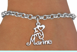 """<br>      WHOLESALE USMC FASHION BRACELET <bR>                    EXCLUSIVELY OURS!!<BR>               AN ALLAN ROBIN DESIGN!!<BR>      CLICK HERE TO SEE 1000+ EXCITING<BR>            CHANGES THAT YOU CAN MAKE!<BR>         CADMIUM, LEAD & NICKEL FREE!!<BR>     W1500SB - BEAUTIFUL SILVER TONE <Br> """"I LOVE MY MARINE"""" CHARM & BRACELET <BR>             FROM $4.15 TO $8.00 �2013"""