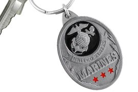 """<Br>      WHOLESALE USMC KEY CHAINS <BR>               LEAD & NICKEL FREE!! <Br>  W20506KC - """"UNITED STATES MARINES"""" <Br>   PEWTER AND BLACK ENAMEL KEY CHAIN <Br>         FROM $4.73 TO $10.50 �2013"""