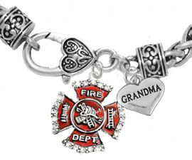 "<Br>              WHOLESALE FIREFIGHTER JEWELRY  <BR>                        AN ALLAN ROBIN DESIGN!! <Br>                   CADMIUM, LEAD & NICKEL FREE!!  <Br> W1284-1832B1  ""FIREFIGHTER  GRANDMA"" HEART  <BR>  CHARMS ON HEART LOBSTER CLASP BRACELET <BR>                                      $9.38 �2016"