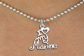 """<br>   WHOLESALE USMC NECKLACE JEWELRY <bR>                   EXCLUSIVELY OURS!! <BR>              AN ALLAN ROBIN DESIGN!! <BR>     CLICK HERE TO SEE 1000+ EXCITING <BR>           CHANGES THAT YOU CAN MAKE! <BR>        CADMIUM, LEAD & NICKEL FREE!! <BR>     W1500SN - BEAUTIFUL SILVER TONE <BR>    """"I LOVE MY MARINE"""" CHARM & NECKLACE <BR>             FROM $4.85 TO $8.30 �2013"""