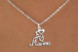 """<br>   WHOLESALE USMC NECKLACE JEWELRY <bR>                   EXCLUSIVELY OURS!! <BR>              AN ALLAN ROBIN DESIGN!! <BR>     CLICK HERE TO SEE 1000+ EXCITING <BR>           CHANGES THAT YOU CAN MAKE! <BR>        CADMIUM, LEAD & NICKEL FREE!! <BR>     W1500SN - BEAUTIFUL SILVER TONE <BR>    """"I LOVE MY MARINE"""" CHARM & NECKLACE <BR>             FROM $4.50 TO $8.35 �2013"""