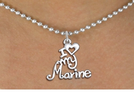 "<br>   WHOLESALE USMC NECKLACE JEWELRY <bR>                   EXCLUSIVELY OURS!! <BR>              AN ALLAN ROBIN DESIGN!! <BR>     CLICK HERE TO SEE 1000+ EXCITING <BR>           CHANGES THAT YOU CAN MAKE! <BR>        CADMIUM, LEAD & NICKEL FREE!! <BR>     W1500SN - BEAUTIFUL SILVER TONE <BR>    ""I LOVE MY MARINE"" CHARM & NECKLACE <BR>             FROM $4.85 TO $8.30 �2013"
