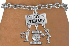 """<BR>      WHOLESALE VOLLEYBALL BRACELET<Br>                   EXCLUSIVELY OURS!! <Br>              AN ALLAN ROBIN DESIGN!! <Br>                 LEAD & NICKEL FREE!! <BR>     W20217B - SILVER TONE """"GO TEAM!"""" <BR>  LADY VOLLEYBALL THEMED PENDANT WITH <BR> BUMP, """"ATTITUDE IS EVERYTHING"""" AND """"#1"""" <BR>        ON TOGGLE CLASP LINK BRACELET <BR>            FROM $7.85 TO $17.50 �2013"""