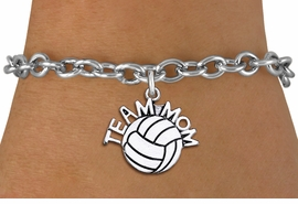 """<br> WHOLESALE VOLLEYBALL CHARM BRACELET <bR>                     EXCLUSIVELY OURS!!<BR>                AN ALLAN ROBIN DESIGN!!<BR>       CLICK HERE TO SEE 1000+ EXCITING<BR>             CHANGES THAT YOU CAN MAKE!<BR>          CADMIUM, LEAD & NICKEL FREE!!<BR>        W1486SB - DETAILED SILVER TONE <Br> """"TEAM MOM"""" VOLLEYBALL CHARM & BRACELET <BR>              FROM $4.50 TO $8.35 �2013"""