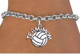 """<br> WHOLESALE VOLLEYBALL CHARM BRACELET <bR>                     EXCLUSIVELY OURS!!<BR>                AN ALLAN ROBIN DESIGN!!<BR>       CLICK HERE TO SEE 1000+ EXCITING<BR>             CHANGES THAT YOU CAN MAKE!<BR>          CADMIUM, LEAD & NICKEL FREE!!<BR>        W1486SB - DETAILED SILVER TONE <Br> """"TEAM MOM"""" VOLLEYBALL CHARM & BRACELET <BR>              FROM $4.15 TO $8.00 �2013"""